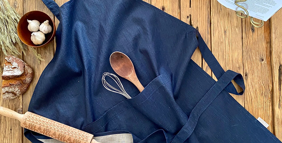 Blue Linen Apron, Tea Towel and Oven Mitt Set