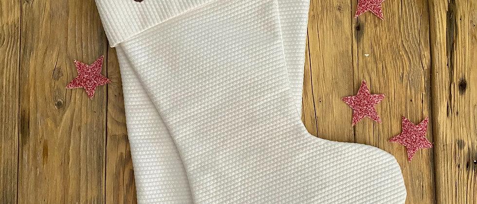 Handmade Personalised White Christmas Stockings