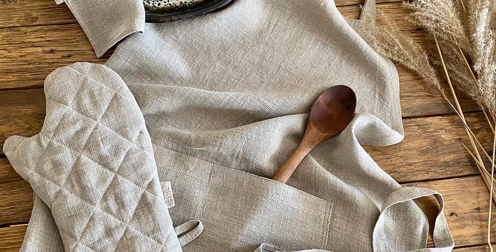 Natural Linen Apron, Tea Towel and Oven Mitt Set