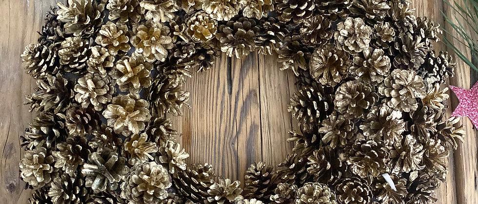 Gold Pine Cone Christmas Wreath