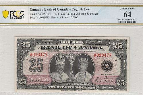 Bank of Canada BC-11 1935 $25 CHUNC64 PCGS