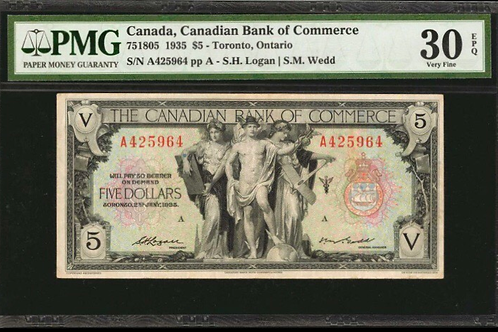 Canadian Bank of Commerce 75-18-05 RARE WEDD signature PMG VF-30 EPQ