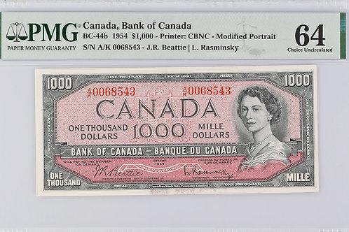 Bank of Canada BC-44b 1954 $1,000 CHUNC64 PMG