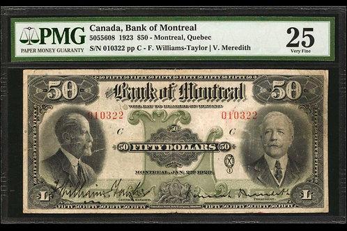 Bank of Montreal 505-56-08 1923 $50 VF-25