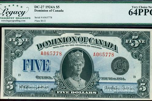 Dominion of Canada DC-27 1924 $5 CHUNC-64PPQ LEGACY