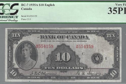 Bank of Canada BC-7 1935 $10 VF35 PPQ PCGS