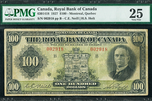 Royal Bank of Canada 630-14-18 1927 $100 VF25 PMG NEILL HOLT SIGNATURES