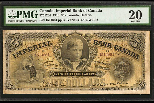 Imperial Bank 375-12-06 1910 $5 VF-20