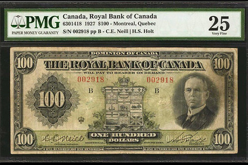 Royal Bank 630-14-18 1927 RARE NEIL signature VF-25 FINEST KNOWN PMG, 7 KNOWN