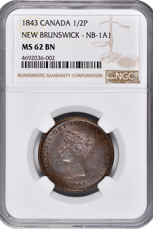 New brunswick tolken 1843 1/2 penny NGC MS62