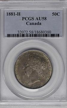 CANADA 1881-H 50 cents AU58 PCGS