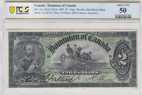 Dominion of Canada DC-14c 1897 $2 AU50 PMG