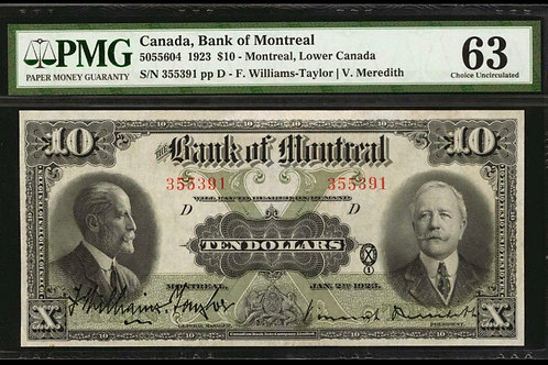 Bank of Montreal 505-56-04 1923 $10 CHUNC-63
