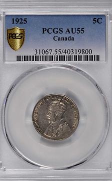 Canada 1925 5 cents AU55 PCGS
