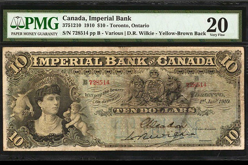Imperial Bank 375-12-10 1910 $10 2nd Finest Known