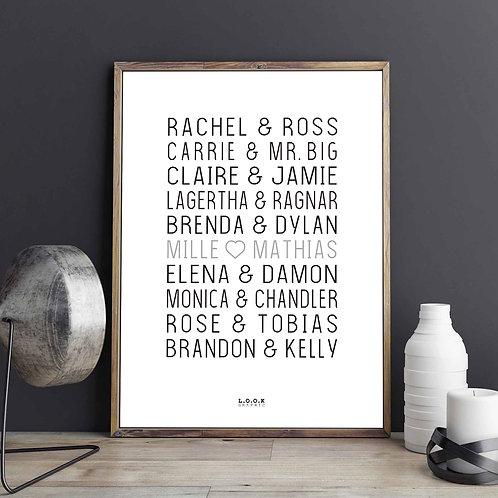 Plakat med serie-par - grå tekst
