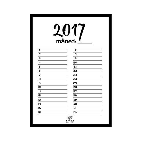 Whiteboard måneds-kalender