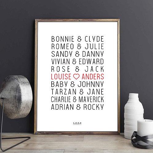 Plakat med film-par - rød tekst