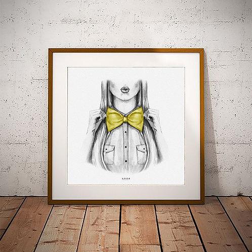 Pige med sløjfe-plakat