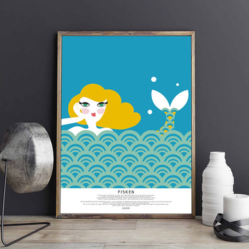 FISKEN Horoskop-plakat til hende