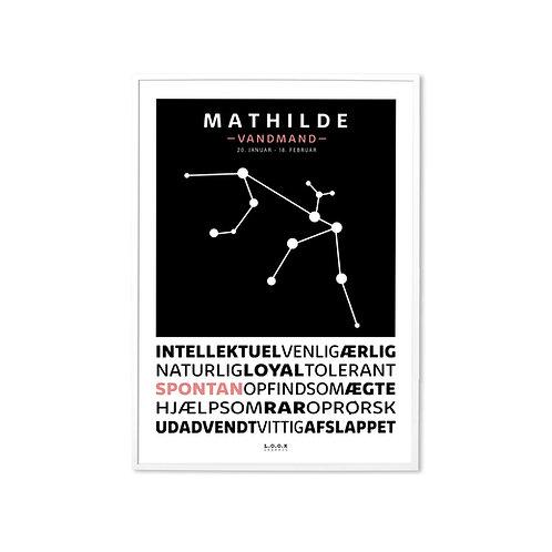 VANDMAND Horoskop-plakat med navn