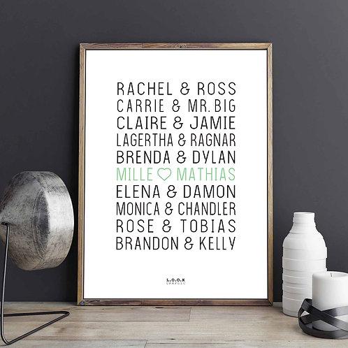Plakat med serie-par - lime tekst