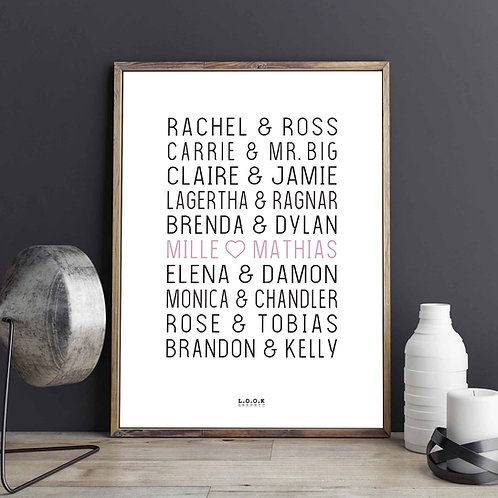 Plakat med serie-par - rosa tekst