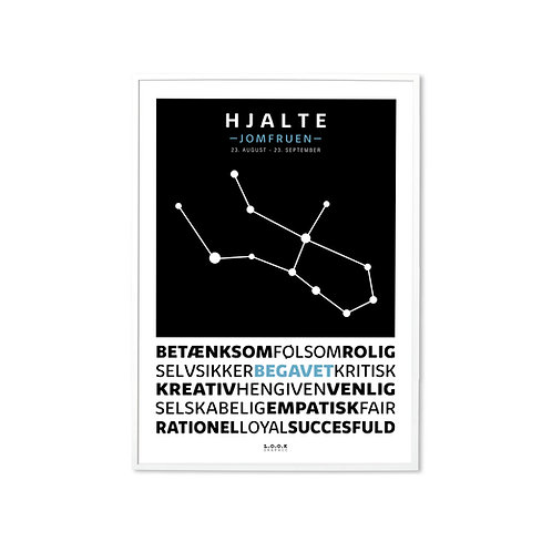 JOMFRUEN Horoskop-plakat med navn
