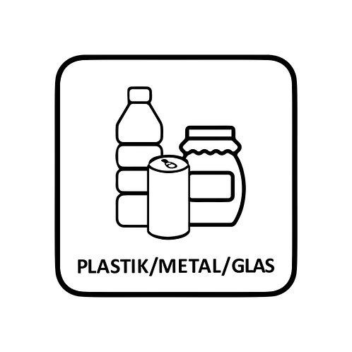 Plastik/Metal/Glas-mærkat til skraldespand