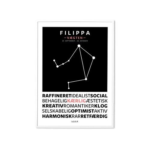 VÆGTEN Horoskop-plakat med navn