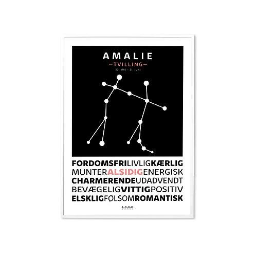 TVILLING Horoskop-plakat med navn