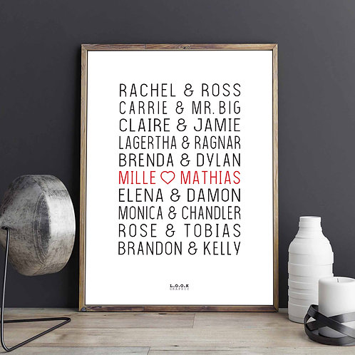Plakat med serie-par - rød tekst