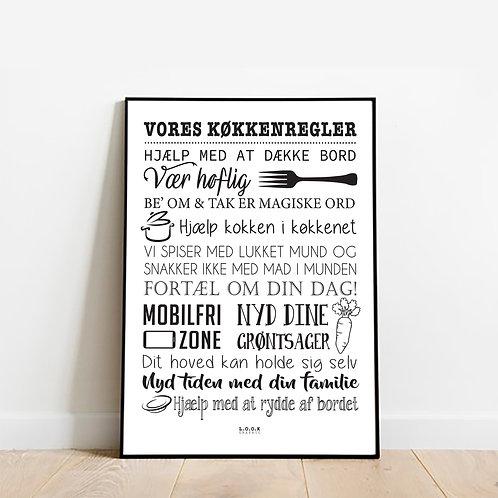 Køkkenregler Plakat