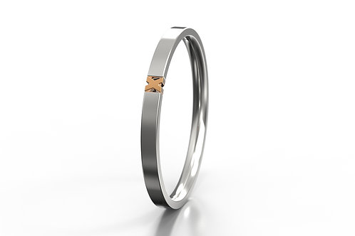 'X' 2 Colour Ring Silver 9ct Rose Gold
