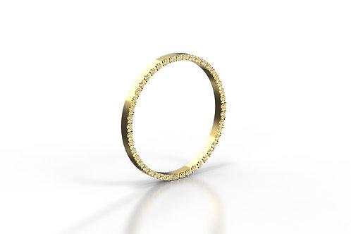 Diamond Set Stack Ring Wall Yellow Gold