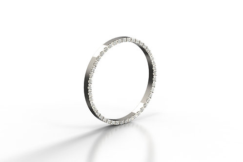 Diamond Set Stack Ring Wall Platinum
