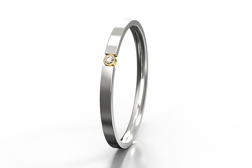 'O' Diamond set 2 Colour Ring Silver 9ct Yellow Gold