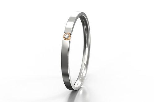 'O' Diamond set 2 Colour Ring Silver 9ct Rose Gold