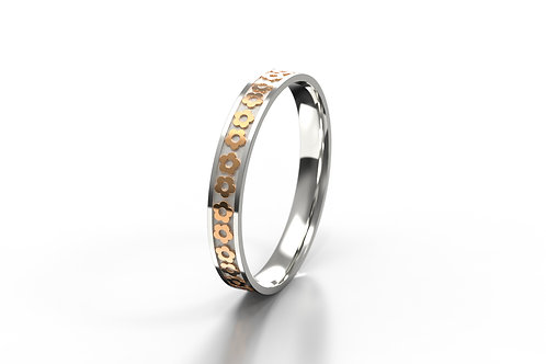 Flower Ring Silver 9ct Rose Gold