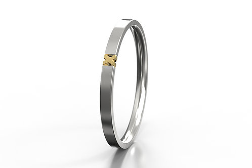 'X' 2 Colour Ring Silver 9ct Yellow