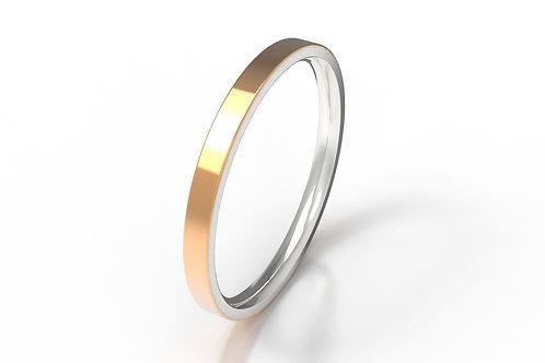 Veneer Stack Ring SIlver, 9ct Rose Gold