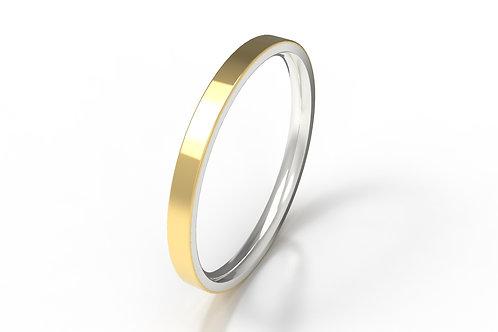 Veneer Stack Ring SIlver, 9ct Yellow