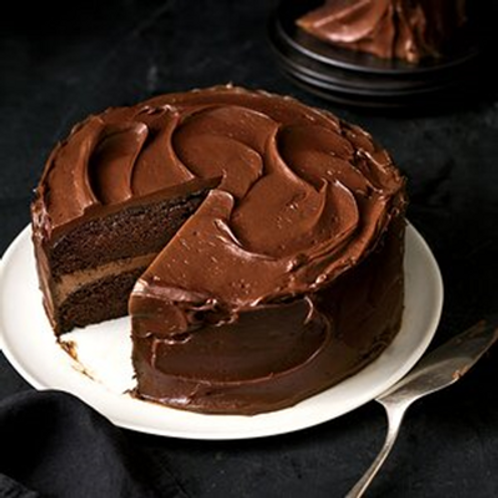 Chocolate Cake with butter cream frosting and caramel centre