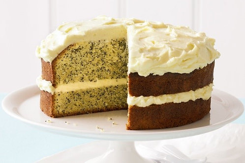 Poppy seed orange cake with cream cheese frosting