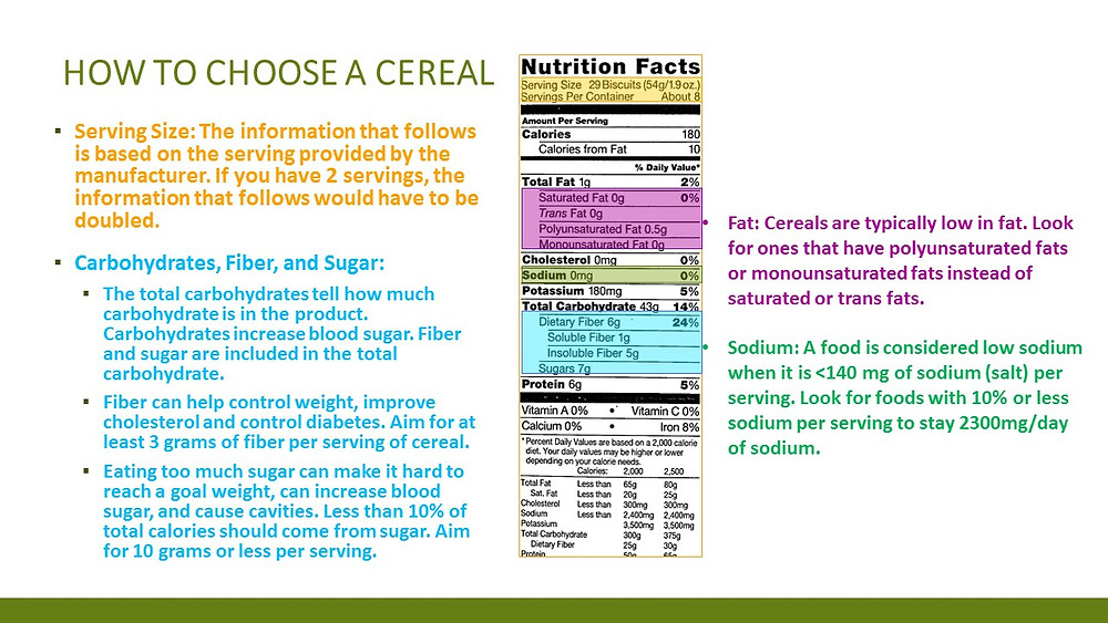 Choosing the right cereal, one that tastes great and is healthy for you, can be difficult.  Here are some things to keep in mind when shopping for the right one.