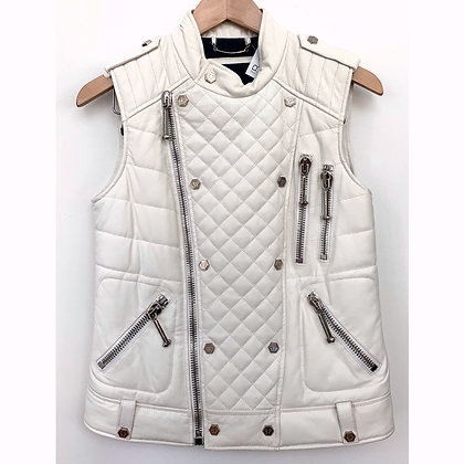 """Philipp Plein""white leather gilet"