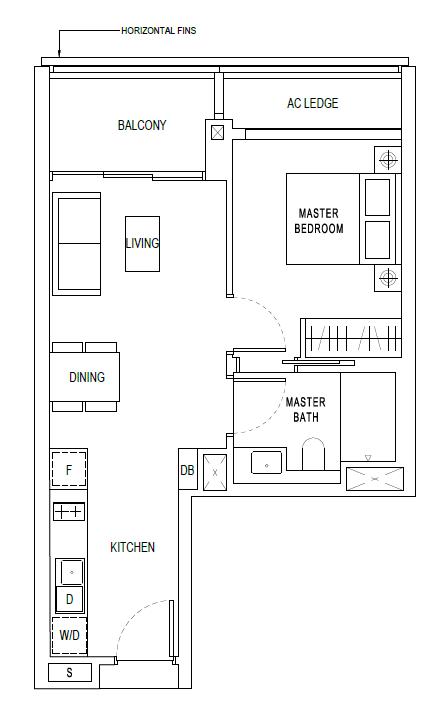 Jadescape 1 bddroom 527 sqft unit floorplan