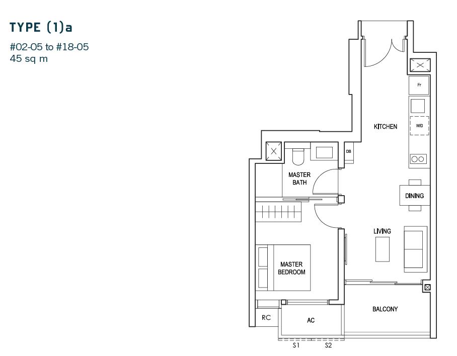 Penrose Review - 1 bedroom floor plan.