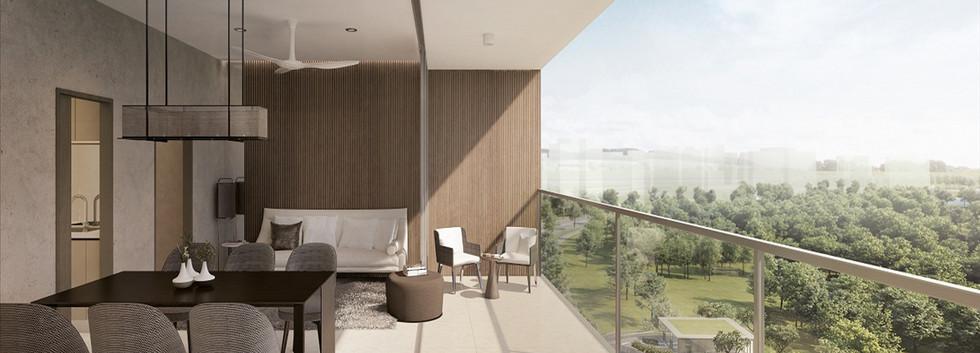 Seamless Flooring between Living Room an
