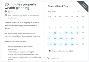 A calendar for you to schedule one to one online discussion on how you can build your wealth in property investment.